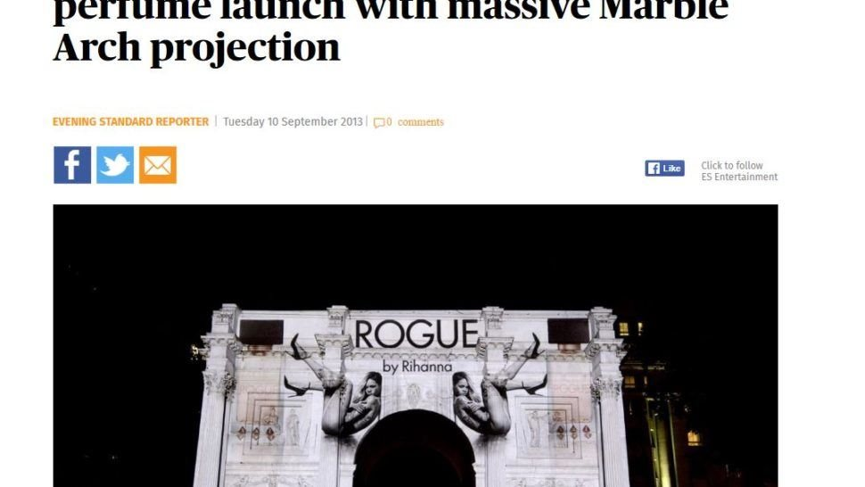 in the press - evening standard - Rihanna rogue projection mapping