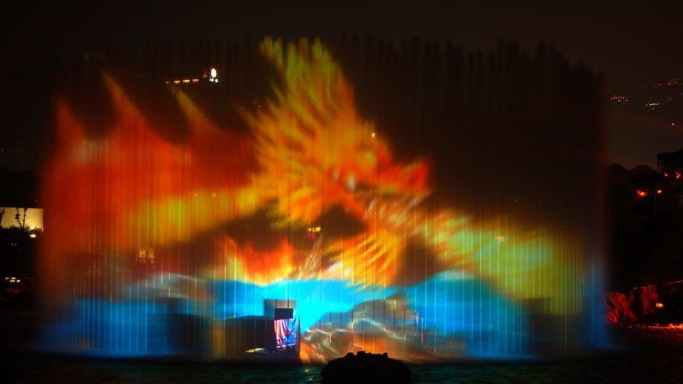 shark projection jet water screen fountain symbio, ocean park by LCI