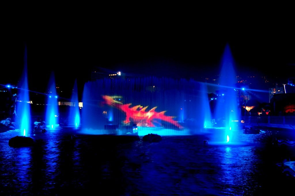 LCI production's symbio water show at ocean park including 360 water screen projection