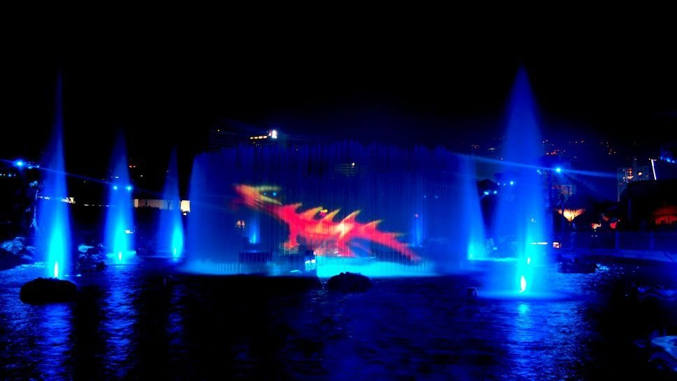 LCI production's symbio water show at ocean park including 360 water screen projection dragon