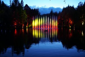 LCI's Enchanted Forest installation at Pitlochry waterscreen fountain and light show