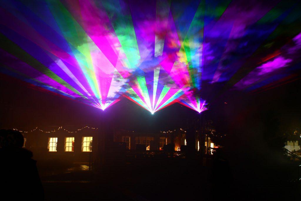 LCI's spectacular Christmas laser show at Clarks Village, UK
