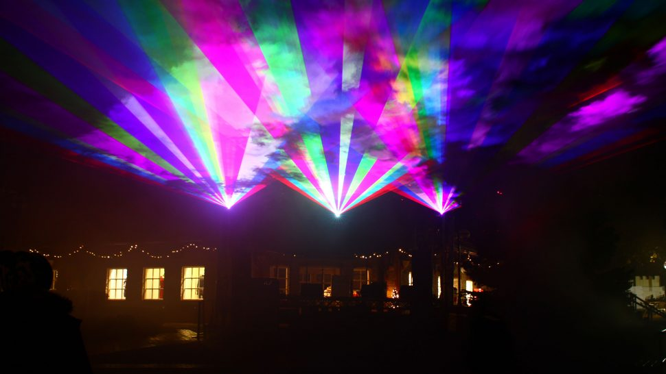 LCI's spectacular Christmas laser show at Clarks Village, UK