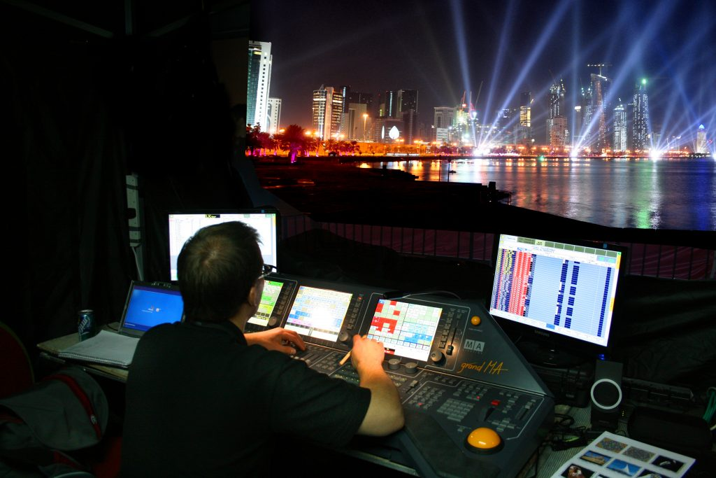 LCI - Qatar National Day _Water Screens, building projection, searchlights event production