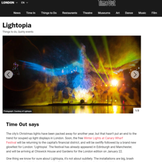 time out article on lightopia projection by lci productions