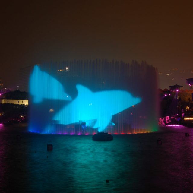 360 jet fountain water screen projection of dolphins by lci for Symbio show at Ocean Park, hong kong