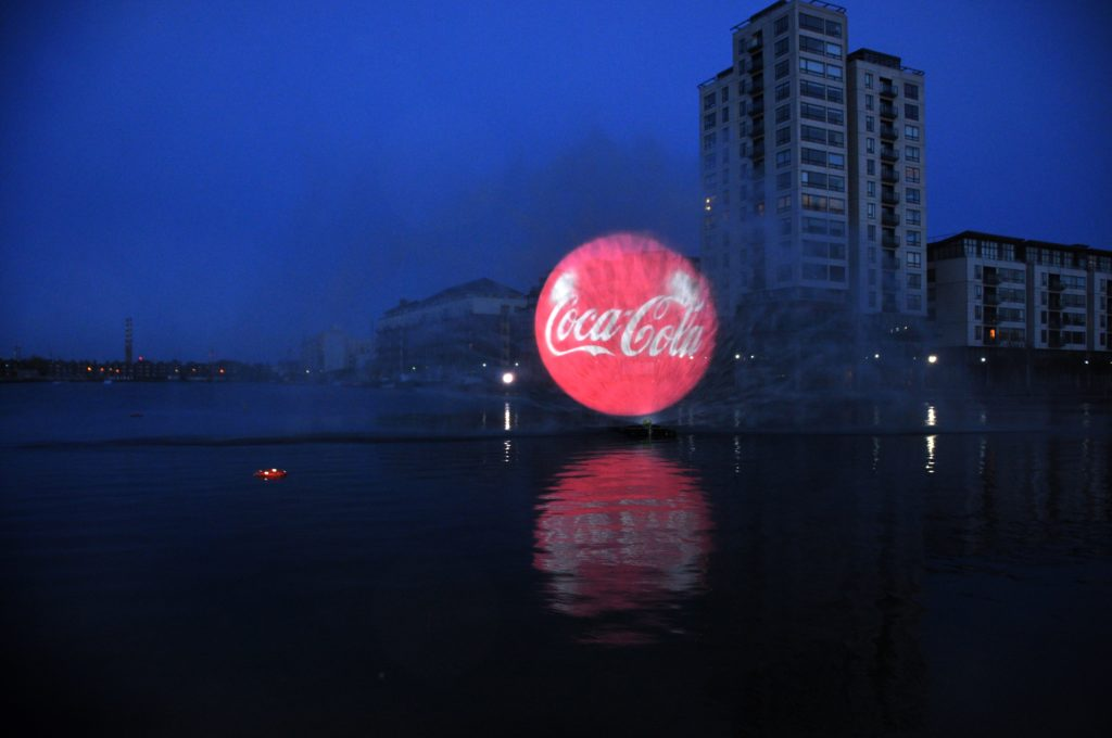 coca cola dublin 3D water screen projection hologram by lci productions