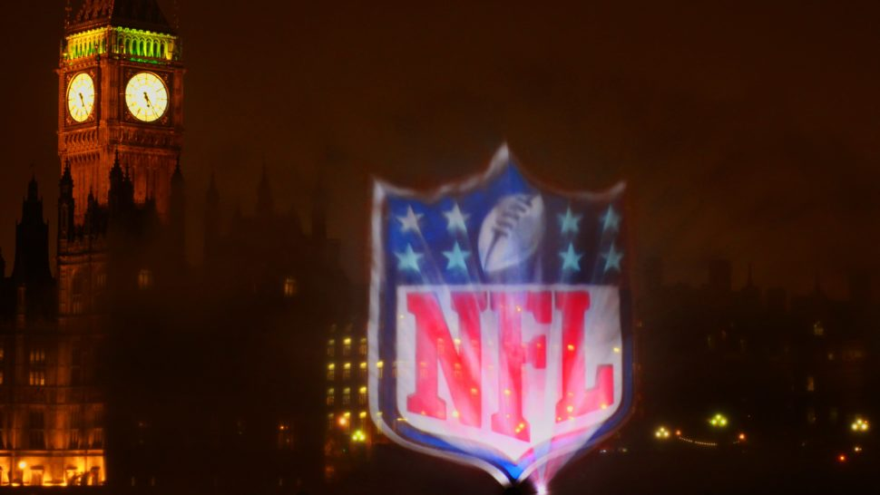 nfl water screen on thames in london by lci