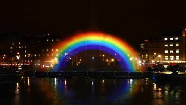 LCI - Trafalger Square water screen Rainbow channel 4