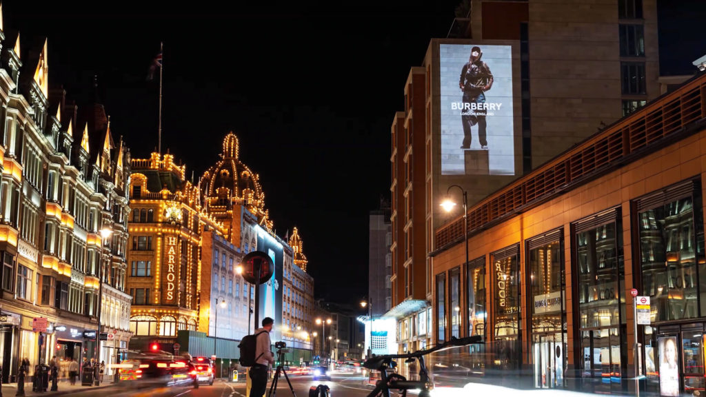 burberry guerilla projection - large building projection advertising lci productions