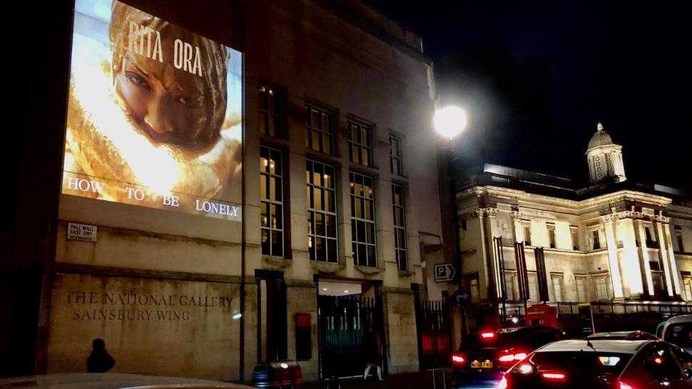Rita Ora LCI - Building Projection guerrilla projection advertising campaign