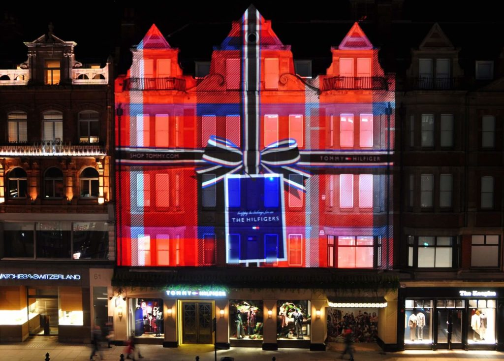 Projection Mapping of Christmas Present on Building for Tommy Hilfiger