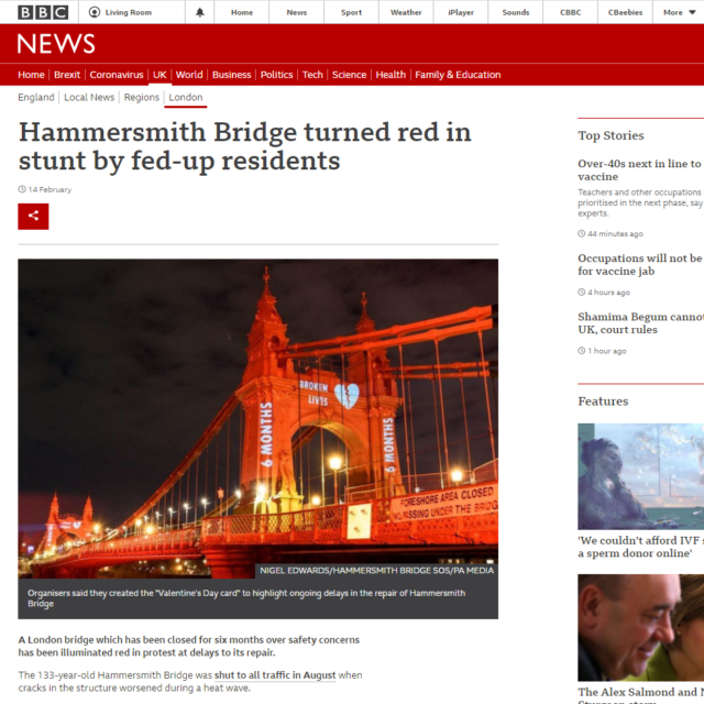 lci productions bbc news hammersmith bridge projection