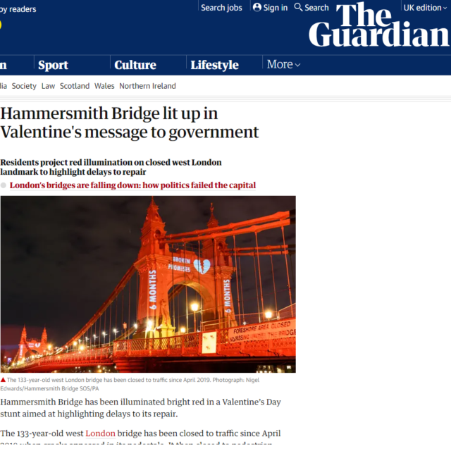 lci productions guardian news hammersmith bridge projection