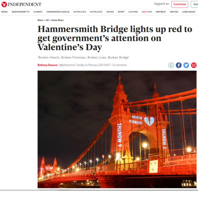 lci productions independent news hammersmith bridge projection