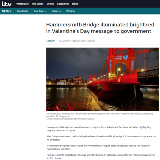 lci productions itv news hammersmith bridge projection