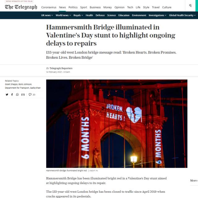 lci productions telegraph news hammersmith bridge projection