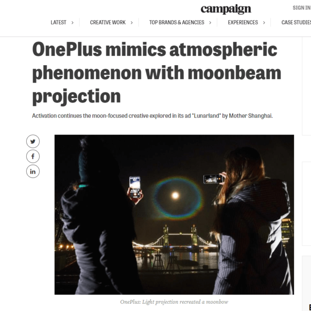 moonbow water screen projection london bridge by lci for oneplus in campaign news
