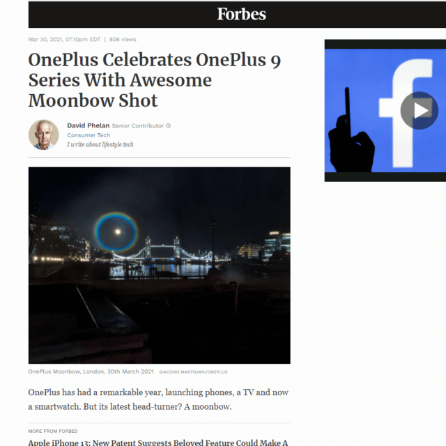moonbow water screen projection london bridge by lci for oneplus in forbes news