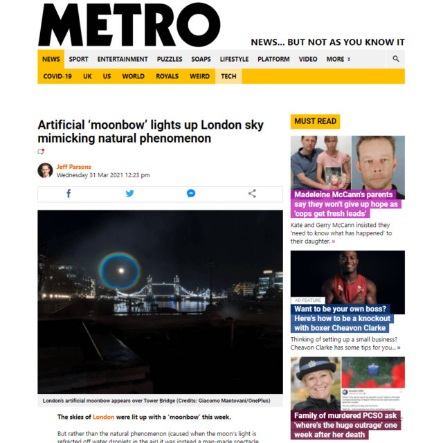 moonbow water screen projection london bridge by lci for oneplus in metro news
